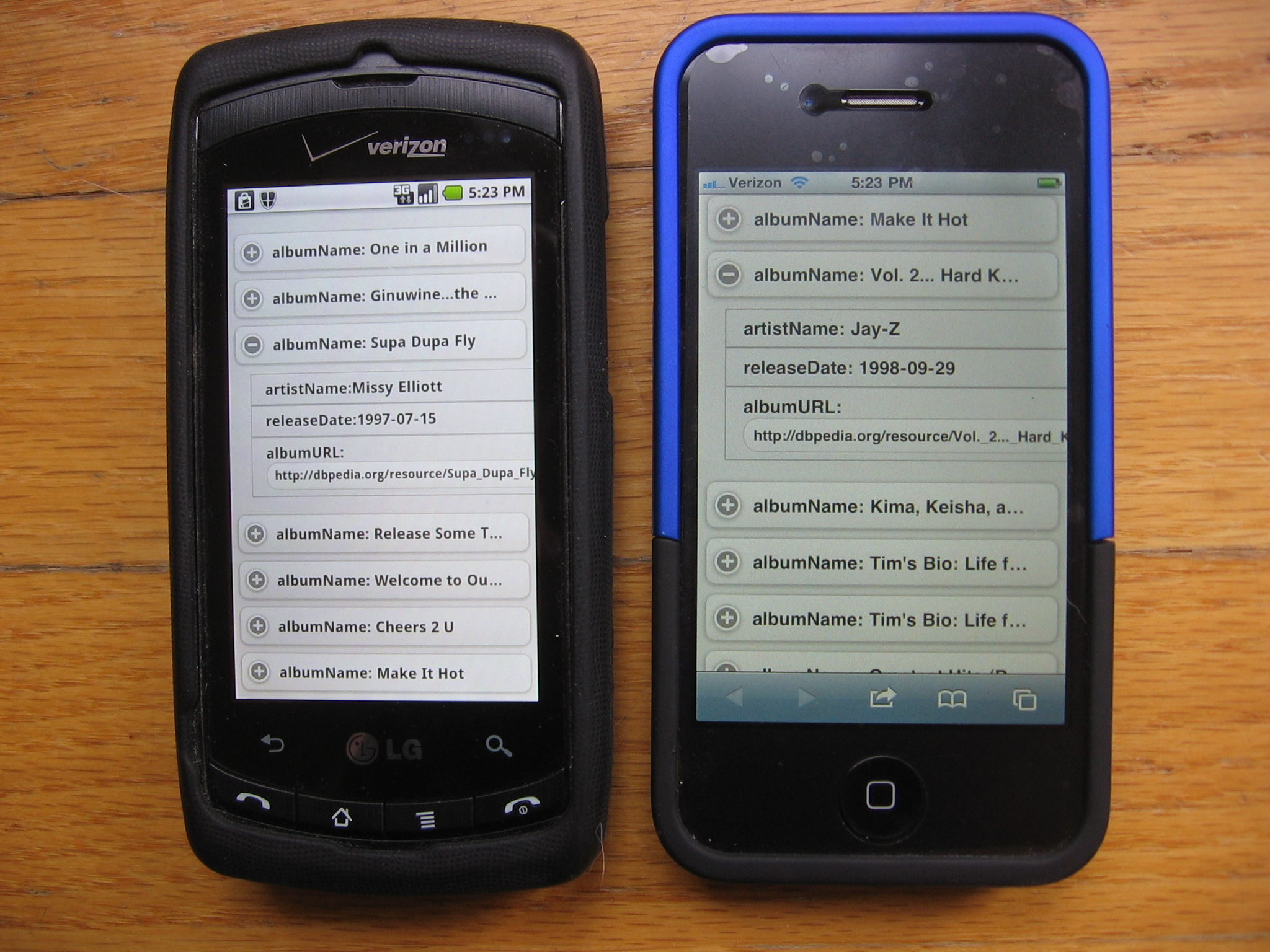 Android LG Ally and iPhone showing SPARQL results